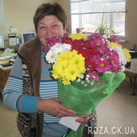 Bouquet of different color spray chrysanthemums - Photo 1