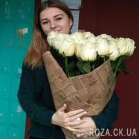 31 белая импортная роза - Фото 1