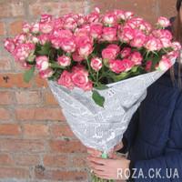 35 розовых кустовых роз - Фото 1