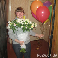 Bouquet of white roses and alstromeries - Photo 2