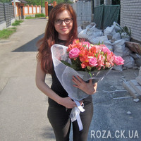 Bouquet of pink roses and alstromeries - Photo 2