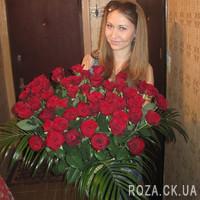Чудесный букет из 81 красной розы - Фото 1