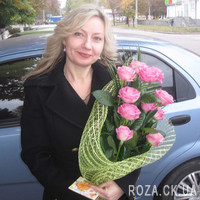 Cascading bouquet of 11 pink roses - Photo 3