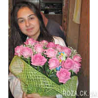 Bright bouquet of 23 pink roses - Photo 1