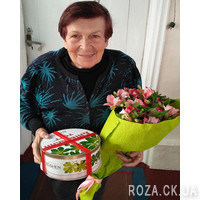 Pink bouquet of roses and alstromeries - Photo 2