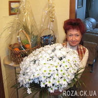 Large bouquet of 51 white camomile chrysanthemum - Photo 2