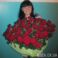 Шикарный букет из 55 красных роз - Фото 3