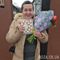 Яркий букет из роз и гербер - Фото 1