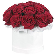 """19 red roses in a round box"" in the online flower shop roza.ck.ua"