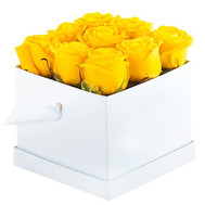 9 yellow roses in a square box - flowers and bouquets on roza.ck.ua