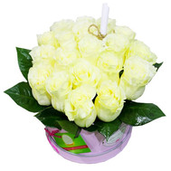 """A bouquet of white roses in a round box"" in the online flower shop roza.ck.ua"