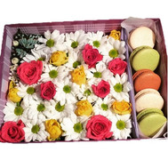 Beautiful box with flowers and macaroons - flowers and bouquets on roza.ck.ua