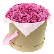 Pink roses in a round box - flowers and bouquets on roza.ck.ua