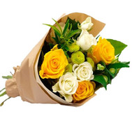 Merry bouquet of roses and chrysanthemums - flowers and bouquets on roza.ck.ua