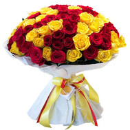 """101 red and yellow rose"" in the online flower shop roza.ck.ua"