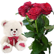 5 roses and little Bear - flowers and bouquets on roza.ck.ua