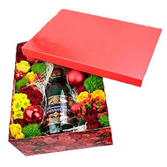 """Box with flowers and champagne for the New Year"" in the online flower shop roza.ck.ua"
