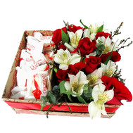 Box with flowers and rafaello - flowers and bouquets on roza.ck.ua