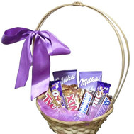Basket of chocolate bars - flowers and bouquets on roza.ck.ua