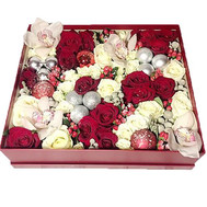 Christmas box with roses and orchids - flowers and bouquets on roza.ck.ua