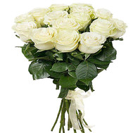 15 white imported roses - flowers and bouquets on roza.ck.ua