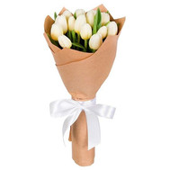 """""""15 белых тюльпанов в бумаге"""" в интернет-магазине цветов roza.ck.ua"""