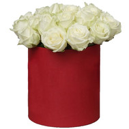 """25 white roses in a hat box"" in the online flower shop roza.ck.ua"