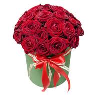 25 красных роз в коробке - цветы и букеты на roza.ck.ua