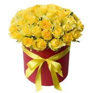 35 желтых роз в коробке - цветы и букеты на roza.ck.ua