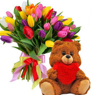 51 tulip and teddy bear - flowers and bouquets on roza.ck.ua