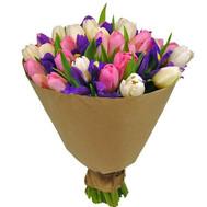 """""""Чудесный букет из ирисов и тюльпанов"""" в интернет-магазине цветов roza.ck.ua"""