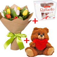 11 tulips + teddy bear + rafaello - flowers and bouquets on roza.ck.ua