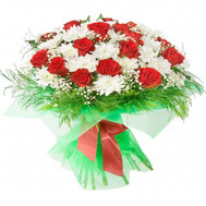 """Large bouquet of red roses and white chrysanthemums"" in the online flower shop roza.ck.ua"