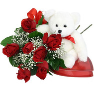 Bouquet, teddy bear and candy - flowers and bouquets on roza.ck.ua