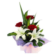 A small bouquet of roses and lilies - flowers and bouquets on roza.ck.ua