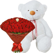 101 rose and teddy bear 2 meters - flowers and bouquets on roza.ck.ua