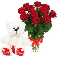 11 red roses and white Teddy bear - flowers and bouquets on roza.ck.ua