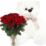 """51 red rose and white Teddy bear"" in the online flower shop roza.ck.ua"