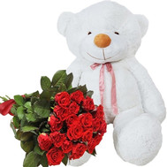Big Teddy bear with roses - flowers and bouquets on roza.ck.ua