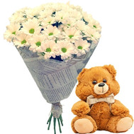 Teddy Bear with a bouquet of chamomiles - flowers and bouquets on roza.ck.ua
