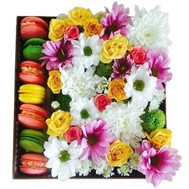 Bouquet in a square box with macarons - flowers and bouquets on roza.ck.ua