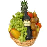 Фрукты и вино в корзине - цветы и букеты на roza.ck.ua