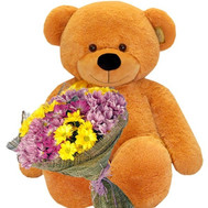 Brown big Bear with chrysanthemums - flowers and bouquets on roza.ck.ua