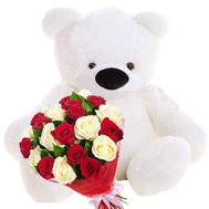 Big teddy bear and a bouquet of roses - flowers and bouquets on roza.ck.ua