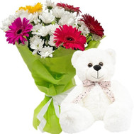 Teddy bear with flowers - flowers and bouquets on roza.ck.ua