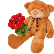 Huge Teddy bear and roses - flowers and bouquets on roza.ck.ua
