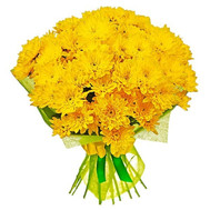 Bright bouquet of yellow chrysanthemums - flowers and bouquets on roza.ck.ua