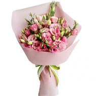 11 pink eustoma in elegant decoration - flowers and bouquets on roza.ck.ua