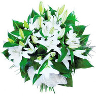 """Snow-white lilies in a bouquet"" in the online flower shop roza.ck.ua"