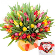 101 tulip and candy - flowers and bouquets on roza.ck.ua